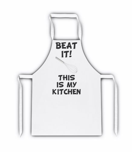 Beat It! This Is My Kitchen White Adult Apron